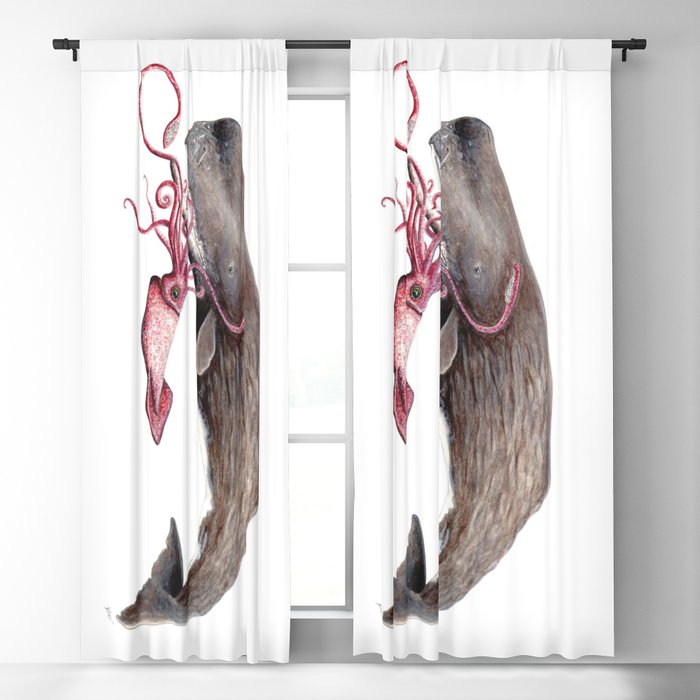Epic battle between the sperm whale and the giant squid Blackout Curtain