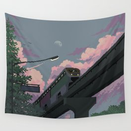 Moonrise Train Wall Tapestry
