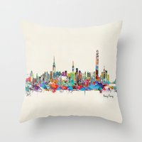 hong kong Throw Pillows featuring Hong Kong skyline by bri.buckley