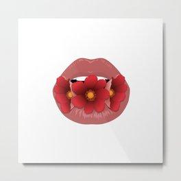Lovely Lips - Flower lips Metal Print