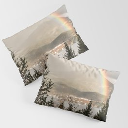 Rainbow In The Mountains | Lake In Norway Photo Art Print  | Travel Photography Pillow Sham
