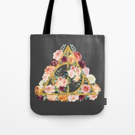 Watercolor Deathly Hallows - Gold/Charcoal Tote Bag