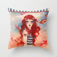 pirate Throw Pillows featuring Pirate by Minasmoke