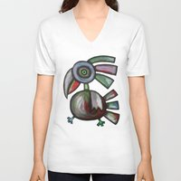parrot V-neck T-shirts featuring Parrot by Rudolf Brancovsky