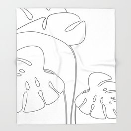 Monstera plant leafs line art Art black and white Throw Blanket