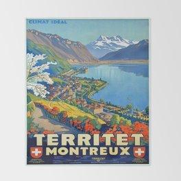 Vintage poster - Territet Montreaux Throw Blanket