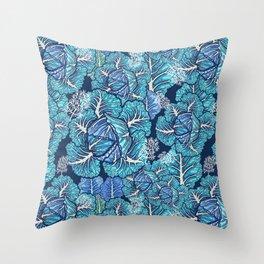 blue winter cabbage Throw Pillow