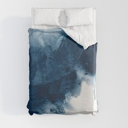 Where does the dance begin? A minimal abstract acrylic painting in blue and white by Alyssa Hamilton Duvet Cover