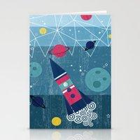 spaceship Stationery Cards featuring Spaceship by Kakel