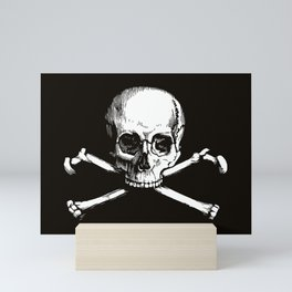 Skull and Crossbones | Jolly Roger | Pirate Flag | Black and White | Mini Art Print
