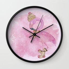 Winter Woodland Stranger- Cute Flamingo Bird Snowy Forest Illustration Wall Clock