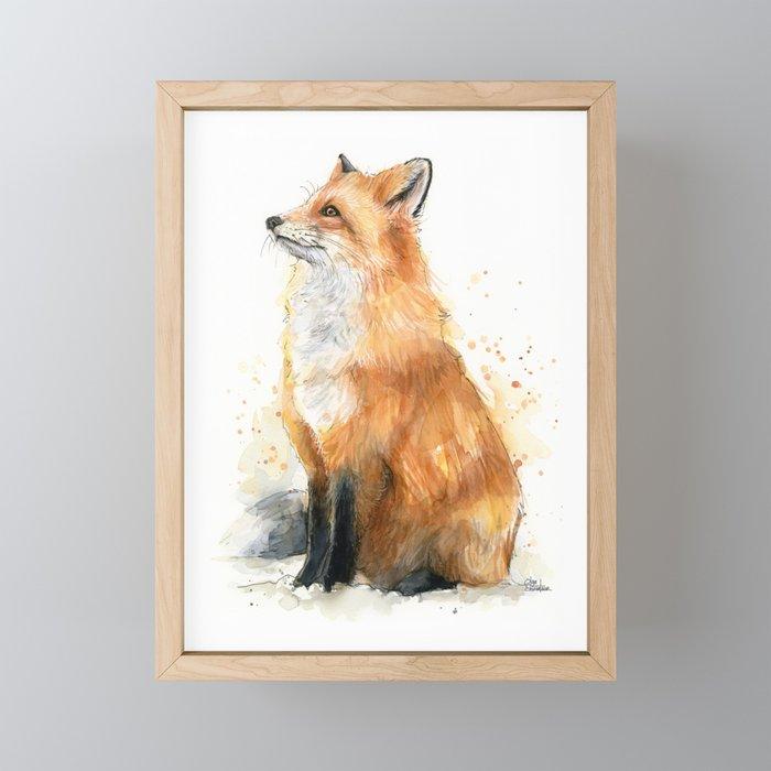 Red Fox Pattern Framed Mini Art Print