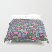 macaroon Duvet Covers featuring Macarons and flowers by Anna Alekseeva kostolom3000