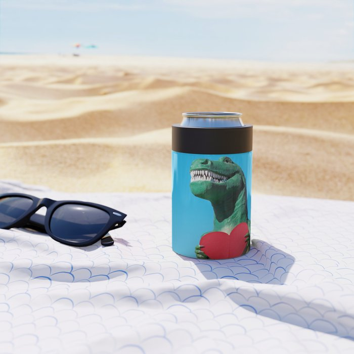 Tiny Arms, Big Heart: Tyrannosaurus Rex with Red Heart Can Cooler