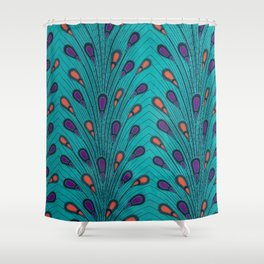 Turquoise Peacock Ankara African Delight Shower Curtain