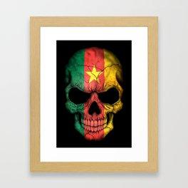 Dark Skull with Flag of Cameroon Framed Art Print