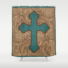 Western Faux Tooled Leather Cross Teal Turquoise Brown Shower Curtain