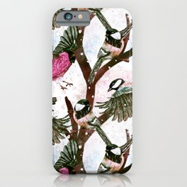 Rose pink Winter Bird pattern  iPhone Case
