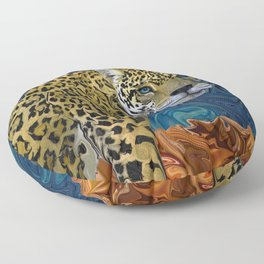 Leopard with the Sky in His Eyes Floor Pillow