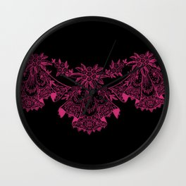 Vintage Lace Hankies Black and Pink Yarrow Wall Clock