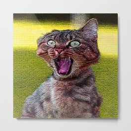 funny cat shocked Metal Print