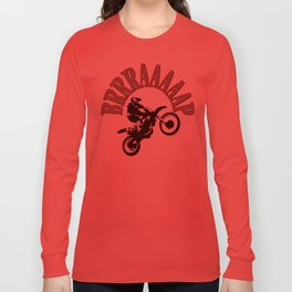 Brrraaaaap Red Checkered Flag Moto Language Long Sleeve T-shirt