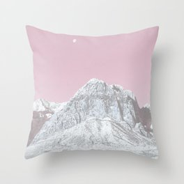 Mojave Pink Sky // Red Rock Canyon Las Vegas Desert Landscape Snowstorm Moon Mountains Throw Pillow