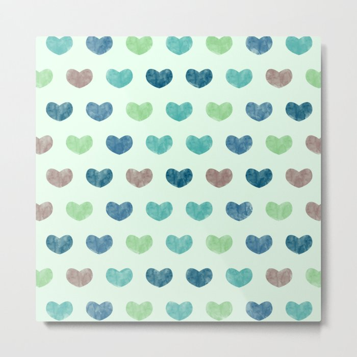 Colorful Cute Hearts V Metal Print