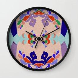 Pretty Pretty Boho Embroidery Style Vintage Floral Mandala Wall Clock