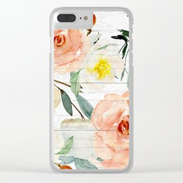Watercolor Flowers on Rustic Wood Clear iPhone Case