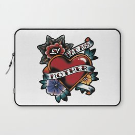 Bad Ass Mother Tattoo Flash Heart and Flowers Laptop Sleeve