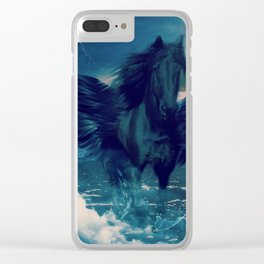 Black Pegasus Emerging From The Sea Clear iPhone Case