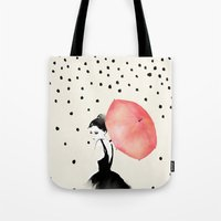 romantic Tote Bags featuring Polka Rain by Karen Hofstetter