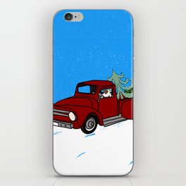 Pit Bull In Old Red Truck With Whimsical Christmas Tree iPhone Skin