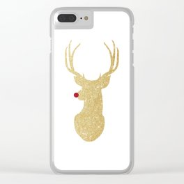 Rudolph The Red-Nosed Reindeer | Gold Glitter Clear iPhone Case