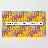 sayings Area & Throw Rugs featuring  Many Hands Make Light Work by mailboxdisco
