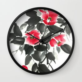 Camellia sumie ink and watercolor painting Wall Clock