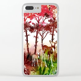 Deer Forest Watercolor Design Clear iPhone Case