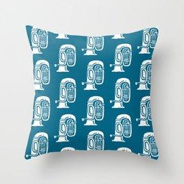 Tuba Pattern Peacock Blue Throw Pillow