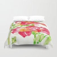 hot pink Duvet Covers featuring Hot Pink by Kate Havekost Fine Art