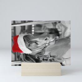 Santa Horse 1 Black and White with Red Hat Mini Art Print