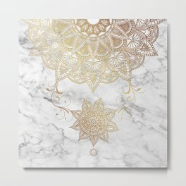 Mandala - Golden drop Metal Print