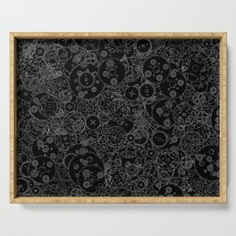 Clockwork B&W inverted / Cogs and clockwork parts lineart pattern Serving Tray