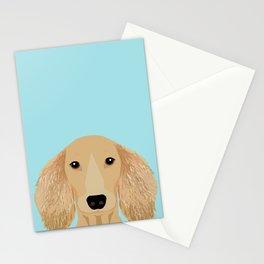 Long Haired Dachshund cream coat cute pet portraits custom dog breed art Stationery Cards