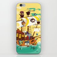 pirate ship iPhone & iPod Skins featuring Animal Pirate Ship by Josh Cleland
