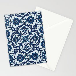 Blue Portuguese Azulejos Floral Tile Pattern II Stationery Cards