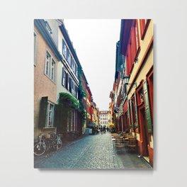 Marketplatz Alley in Heidelberg, Germany Metal Print