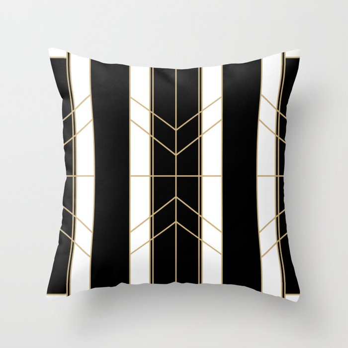 Art Deco Throw Pillows.Black Gold Art Deco Throw Pillow By Studiofinere