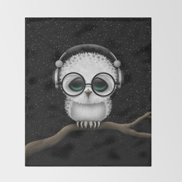 Cute Baby Owl Dj with Headphones and Glasses Throw Blanket