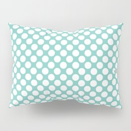 Polka dots - turquoise and white Pillow Sham
